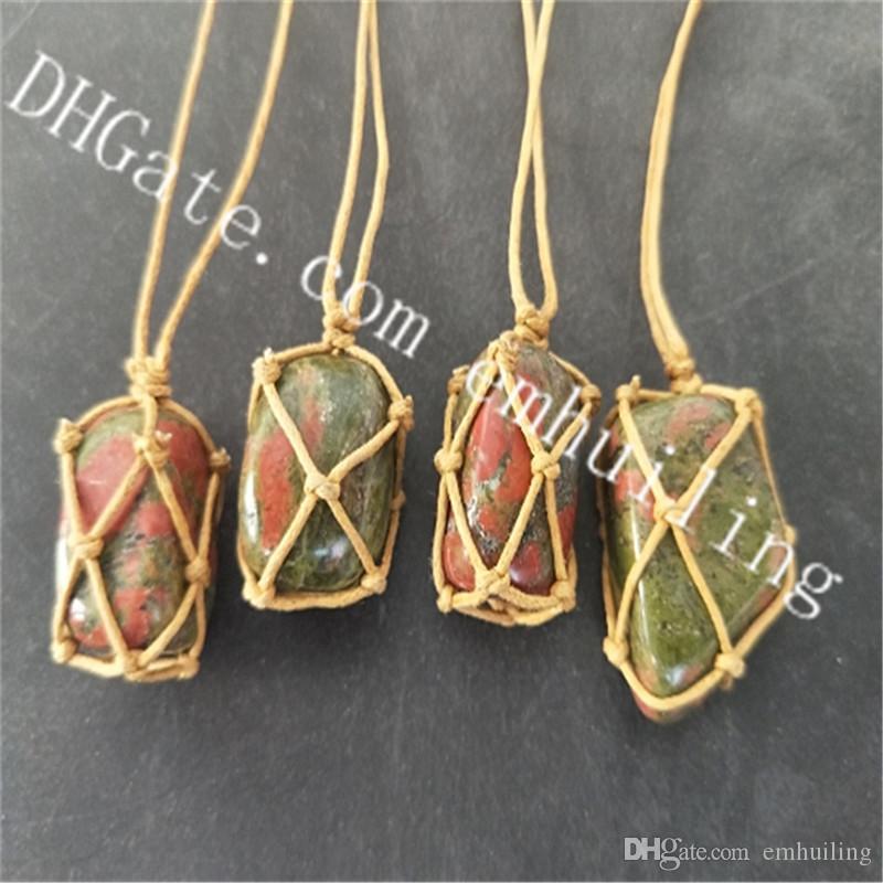 10Pcs Beautiful 20-30mm Freeform Tumbled Natural Unakite Jasper Gemstone Rock Knot Pendant Adjustable Necklace Handmade Boho Macrame Jewelry
