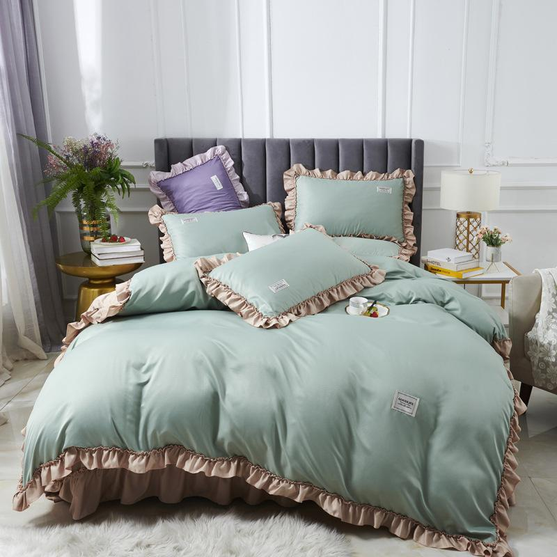 Summer Home Textile Solid Silk Satin Queen King Size Luxury Bedding Sets Bedclothes Bed Linen Duvet Cover Set Bed Sheet FB2005006