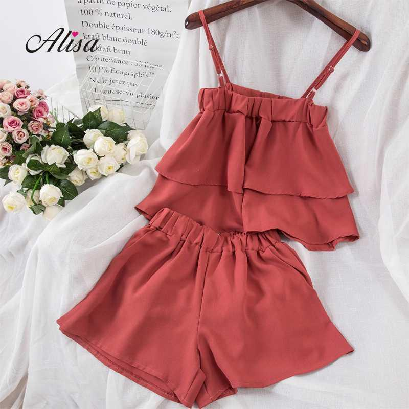 Fashion Flounce Camisole Crop Top + Wide Leg Shorts Causal Women's Sets 2018 New Korean Female Summer Sexy Fashion 2 Pcs Set
