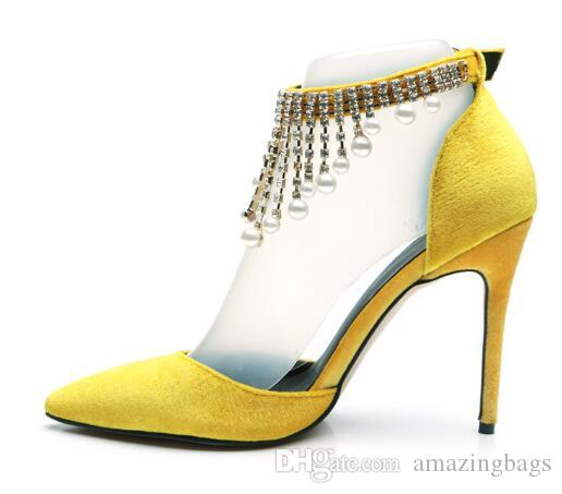 2019 New Ladies Sexy Pointed Toe Yellow Velvet High Heels Pumps Shoes Crystal Pearl Chain Buckle Strap Women Shoes