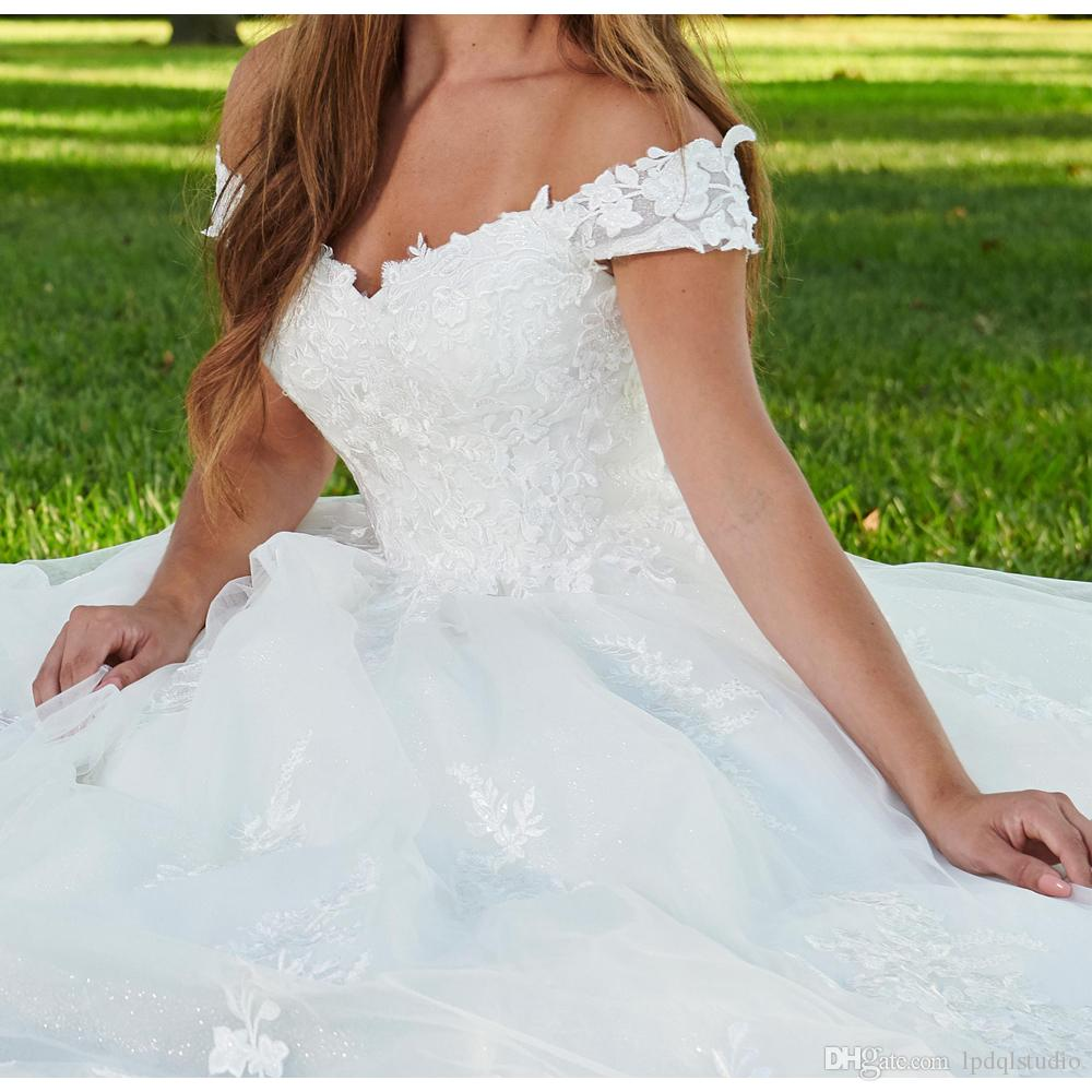 Fancy Wedding Dresses 2019 Off the Shoulder Lace Tulle Ball Gown Wedding Dresses High Waist Bridal Gowns White/ivory Wedding dress