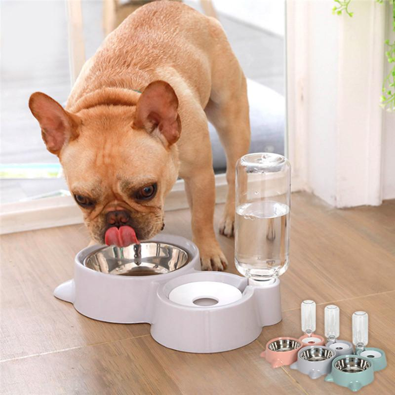 Cat automatico dell'animale domestico ciotola del cane dell'alimentatore dell'acqua dell'alimento ciotola del gatto del gattino potabile Fontana Ciotola per animali domestici Ciotola doppia Merce rifornimenti di alimentazione di irrigazione