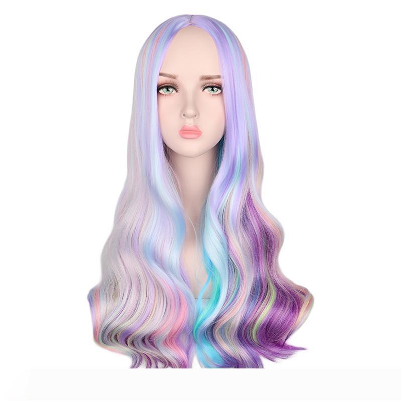 Радуга Красочные длинные волнистые парик партии Cosplay Женщины жаропрочных Синтетические волосы Парики