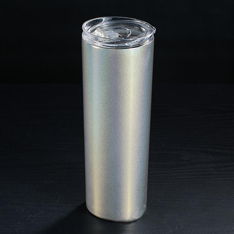 뚜껑 진공 절연 스트레이트 컵 맥주 커피 물 레인보우 스키니 컵 HHA826와 20온스 스테인레스 스틸 스키니 텀블러