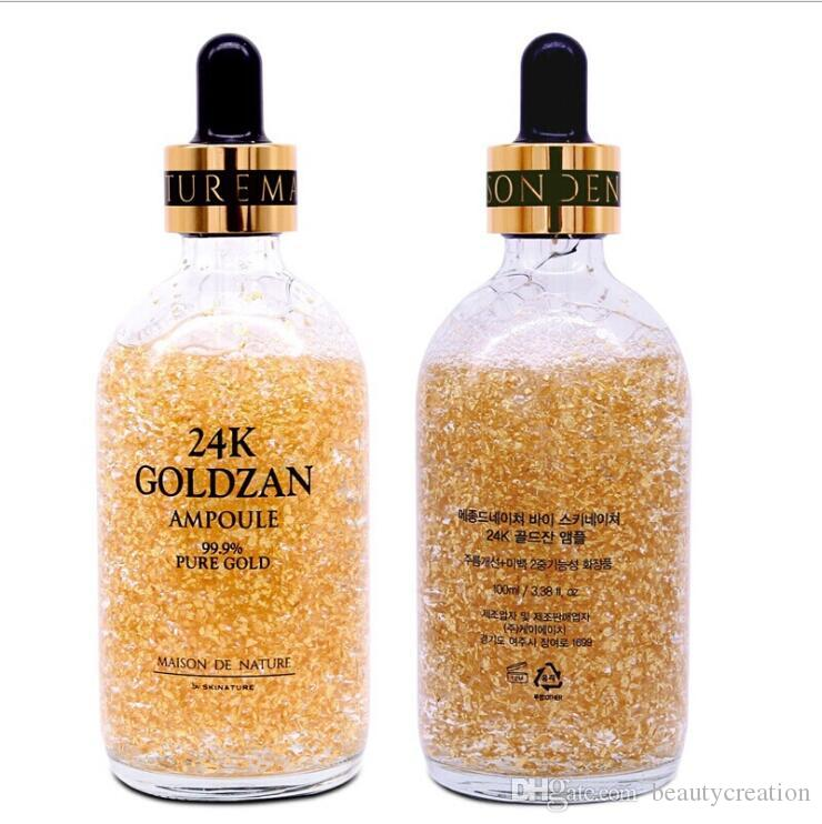 Marque 24k Goldzan Ampoule 99,9% d'or pur Maison De Nature Hydratants Sérum Essence Or 100ML