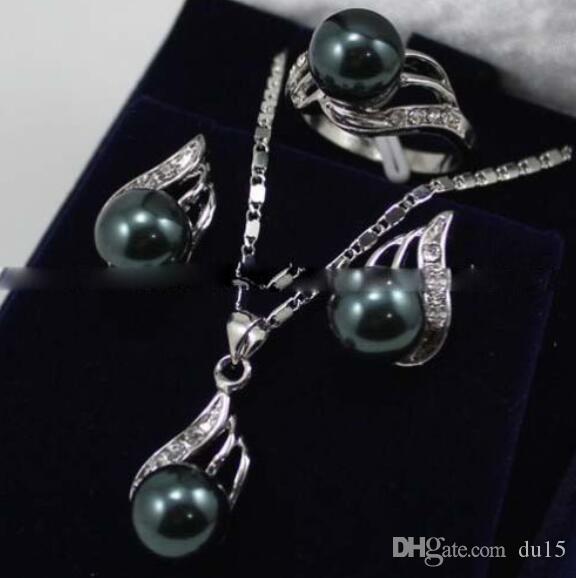 Set di orecchini da donna con ciondolo con perla nera del mare del sud, anello di perle, 5,23 5,23, veri gioielli in argento-gioielli in argento