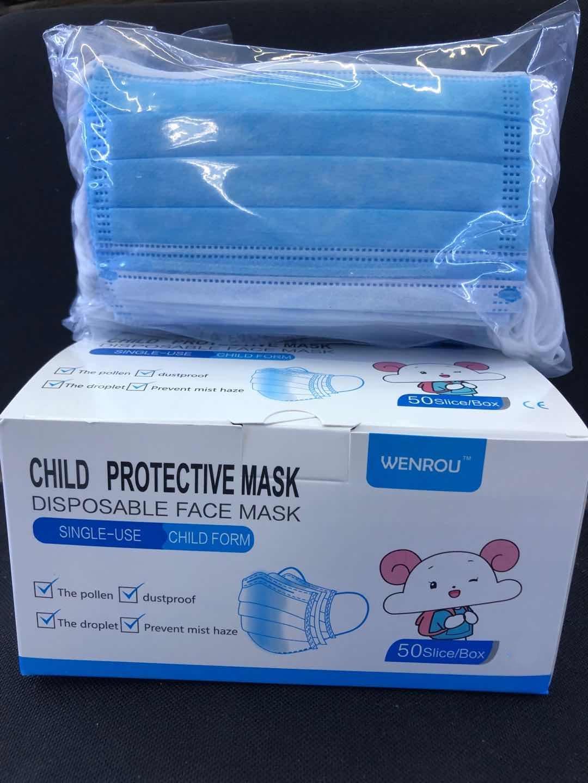 2020 3 Capas desechables para niños Máscara niños protectora contra el polvo de la cara Máscara facial de la máscara de seguridad a prueba de polvo Para Prevent Child Con Earloop no tejidas