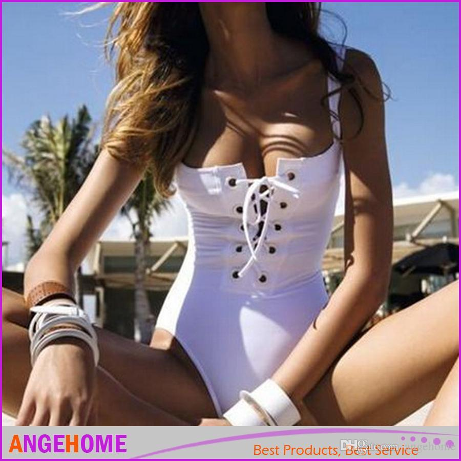 2016 newest Sexy swimwear Women Push Up Criss Cross Strap Swimsuit Lace-Up One Piece Monokini Swimwear Bodysuit Biquini