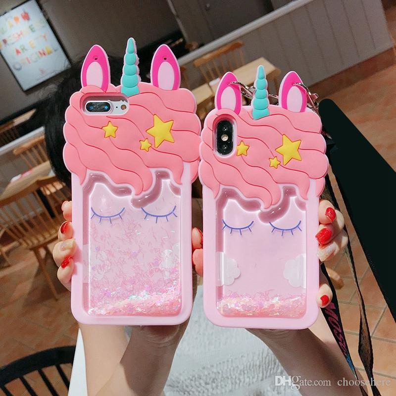 iphone X Unicorn case 3D pink liquid