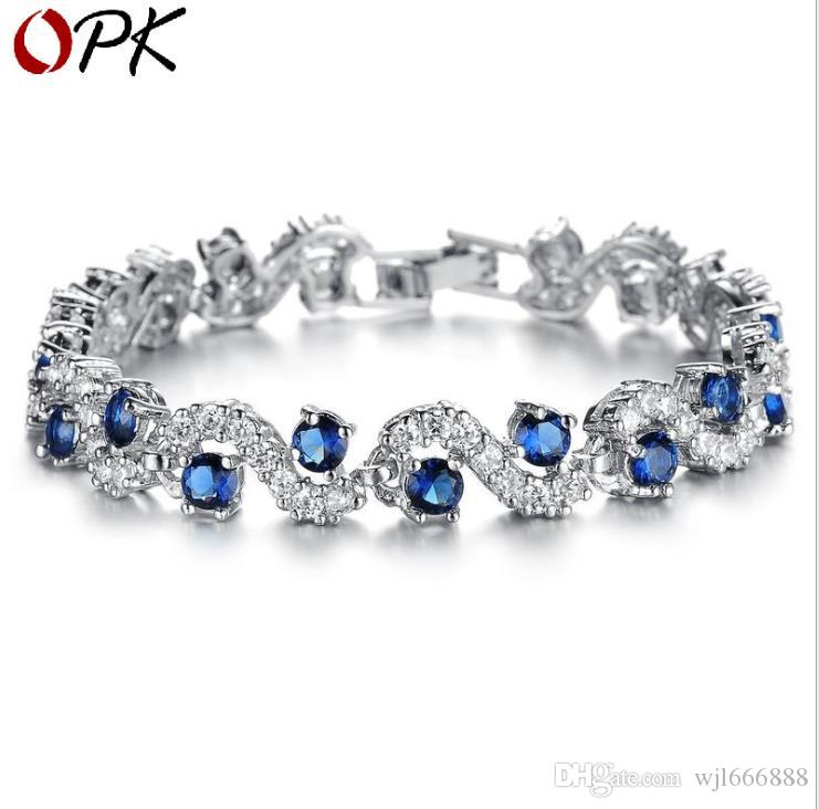 Pulseira de jóias menina de platina pulseira de cristal da senhora