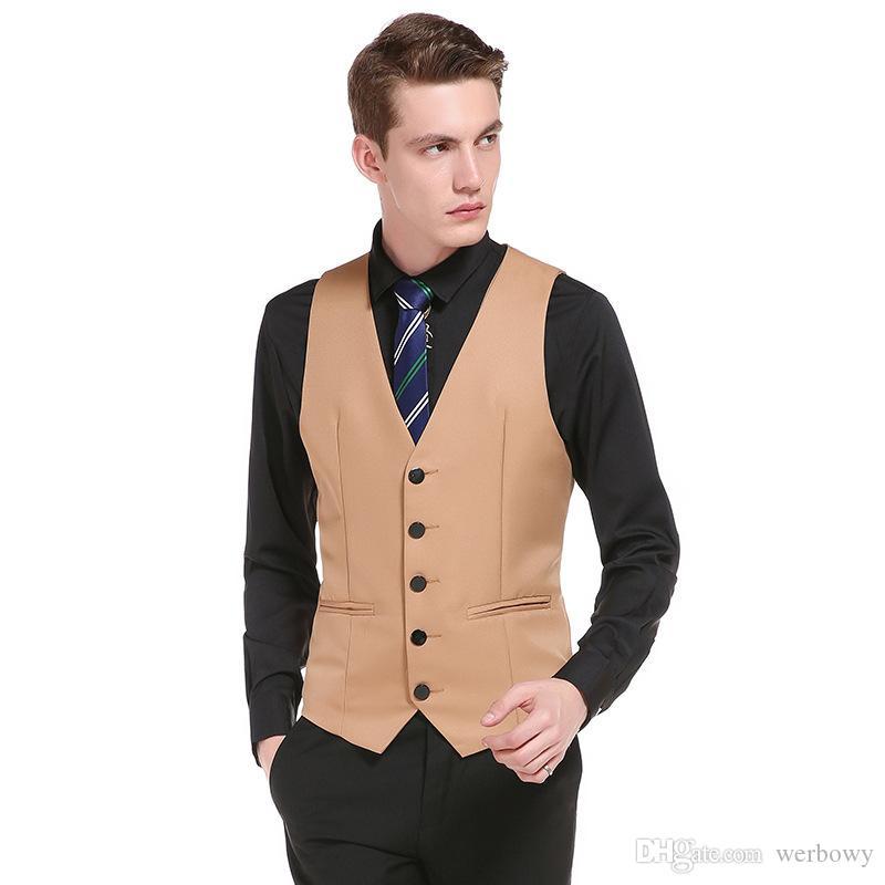 새로운 웨딩 드레스 신랑을위한 고품질의 제품 코튼 남성 패션 디자인 양복 조끼 / 그레이 블랙 고급 남성 비즈니스 캐주얼 정장 조끼