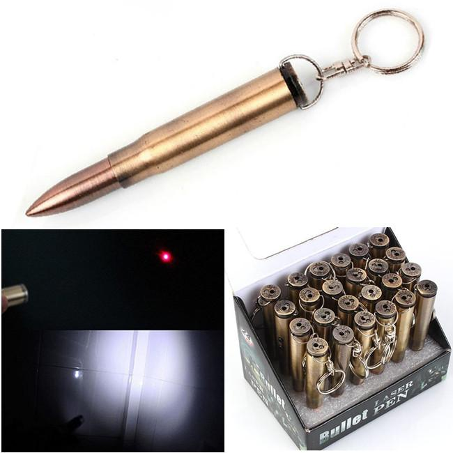 3 In1 Bullet Laser Pen LED Flashlight Torch Light Ball Pen Bullet Key Chains