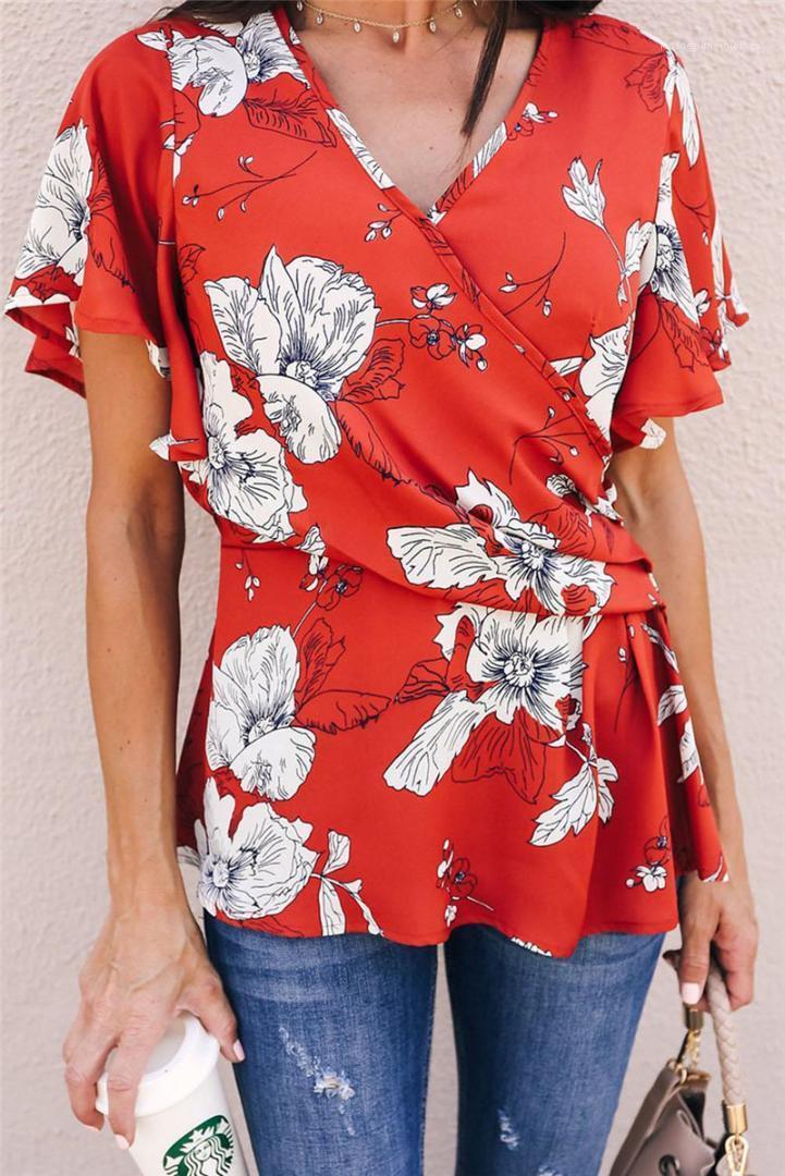 Moda suelta irregular con paneles de camisetas para mujer casuales mujeres Ropa para mujer de la impresión floral diseñador de manga corta camisetas