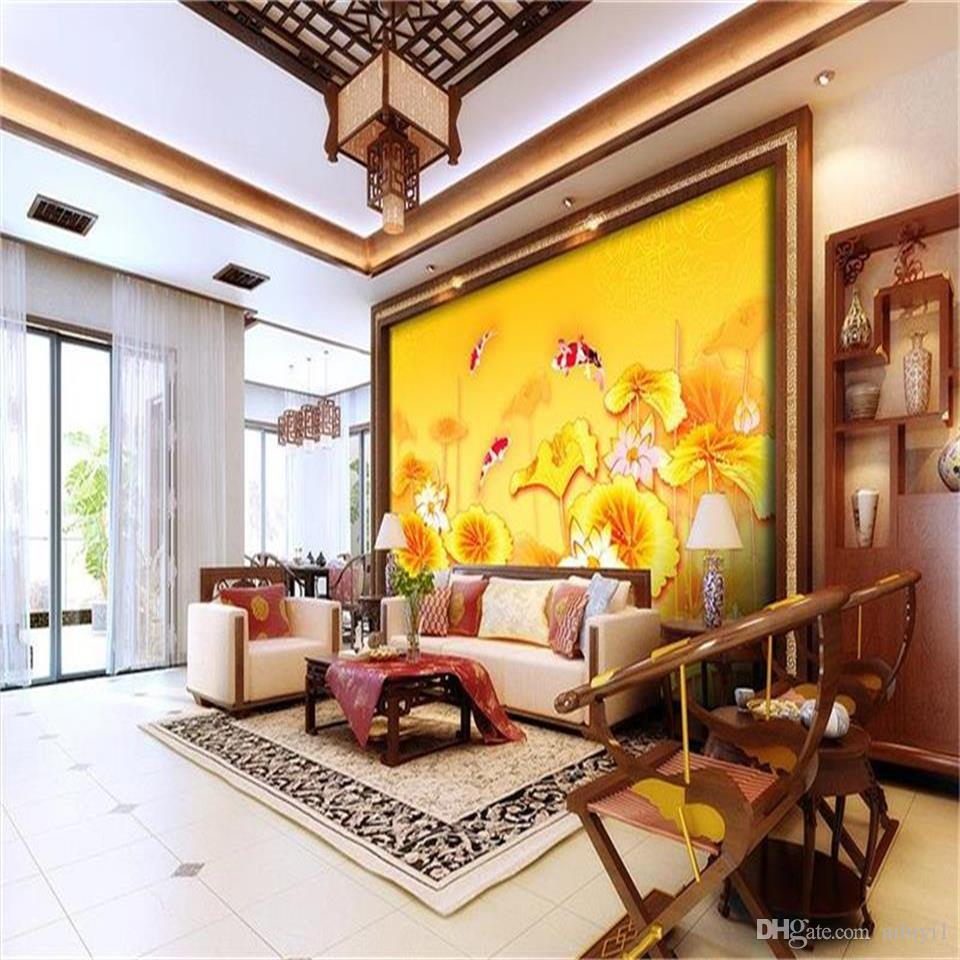 custom size 3d photo wallpaper living room mural Yellow lotus flowers red carp 3d picture sofa TV backdrop wallpaper non-woven wall sticker