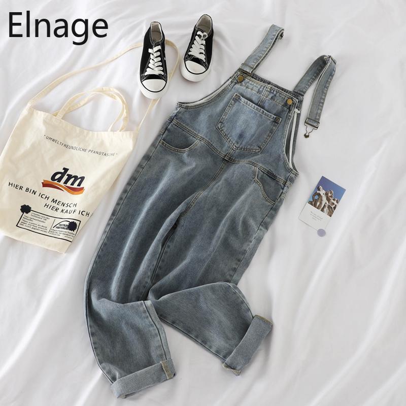 Coreano allentati tuta jeans a vita alta Harlan pantaloni denim dell'annata pantaloni lunghi casuali Donna Primavera Autunno Streetwear 2020 Nuovo
