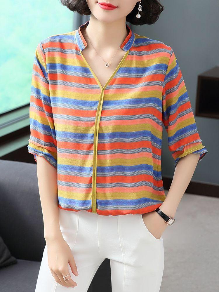 Мода европейский вокзал шифон рубашка женские рукава новая весна и лето радуга контрастного цвета моды свободные полосатые темперамент шир