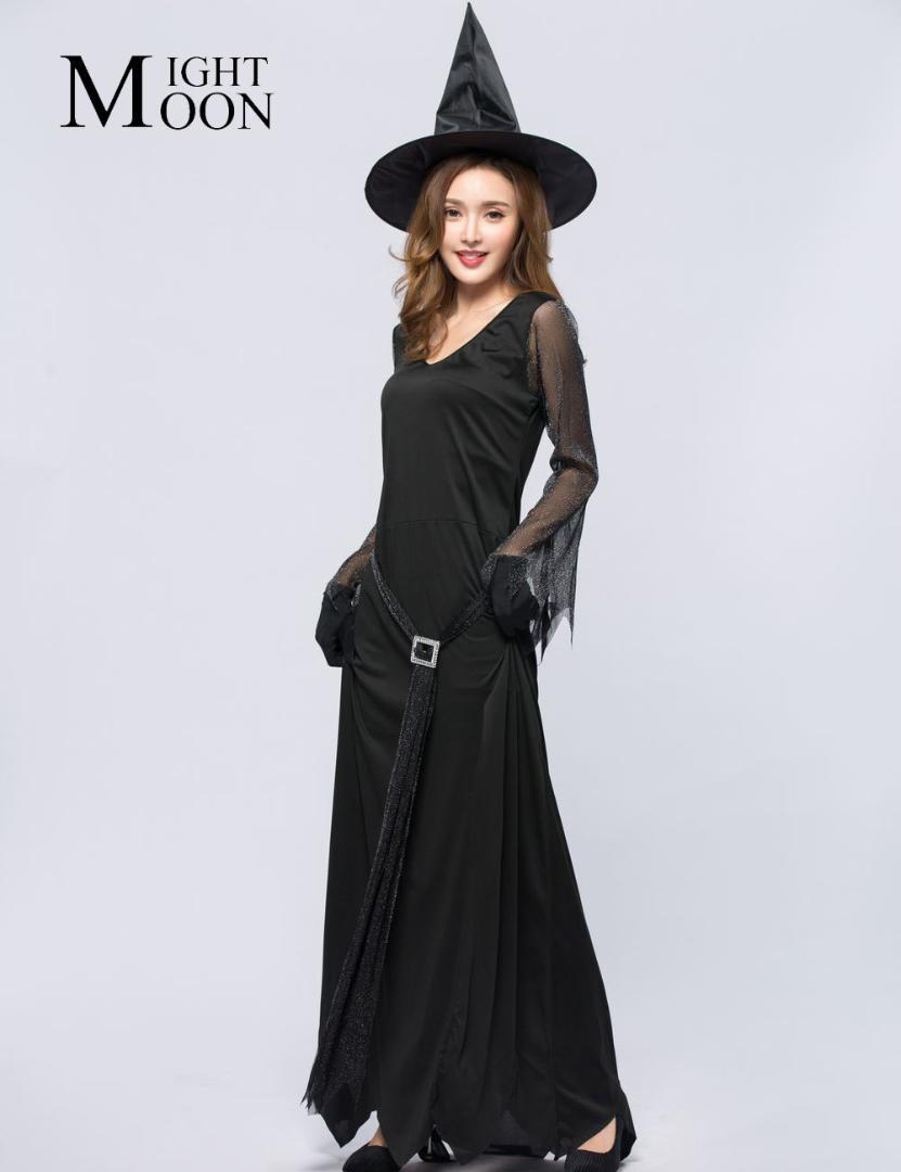 MOONIGHT Witch костюмы для женщин Хэллоуин Косплей фестиваль карнавал партии длинное платье для Женщины