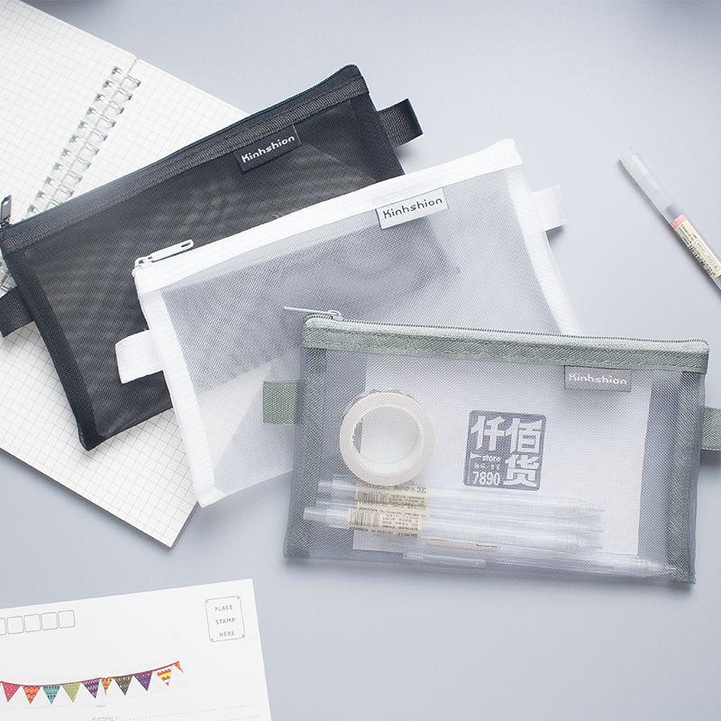 Simple Transparent Mesh Pencil Case Office Student Pencil Cases Nylon School Supplies Pen Box Astuccio Scuola