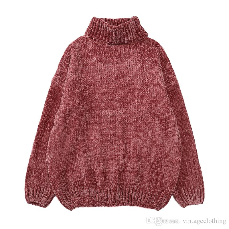 2020 Women Winter Thick Warm Turtleneck Oversized Sweater Long Sleeve Fashion Solid Loose Pullover Female Causal Tops From Vintageclothing, $26.08  