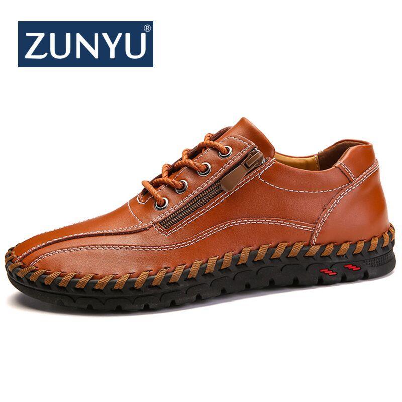 ZUNYU New Spring Summer Zip Мужские Мокасины Мода дышащий Мужчины Flats натуральная кожа Повседневная обувь Конструкторы Мокасины Мужская обувь