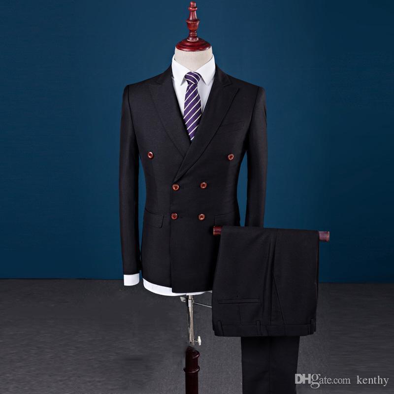 Custom Made Black Men Suits Groosmmen Outfit Abotoamento Blazer Set Slim Fit Vestido de casamento Ternos smoking melhor homem Formal (Jacket + calças)