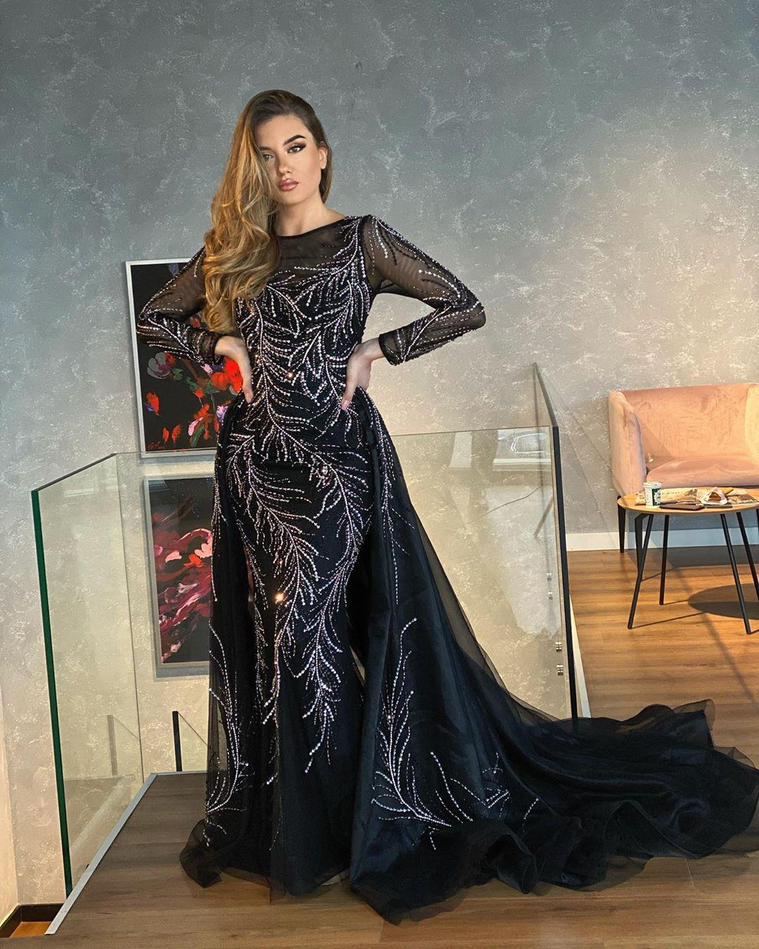 2020 Arabic Aso Ebi Black Luxurious Sexy Evening Dresses Beaded Crystals Prom Dresses Mermaid Formal Party Second Reception Gowns ZJ227