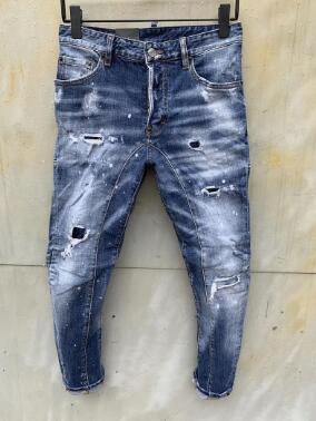 Nouveau style Marque D2 Jeans Homme Denim Jean Broderie Tiger Pantalons Jeans Zipper Holes D2 hommes pantalon skinnydsquared2 jeans hommes 0000077a0 #