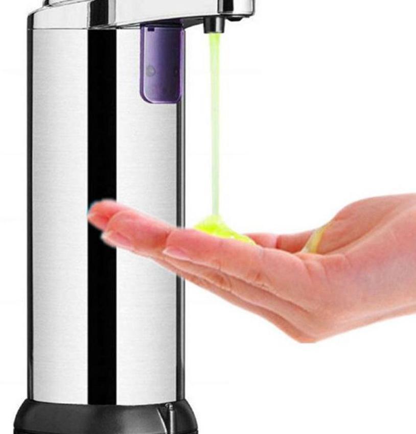 Aço Soap automática 250ml Dispenser Stainless Touchless Handsfree IR Sabonete Líquido Sensor Dispenser de Banho Cozinha LJJK2353