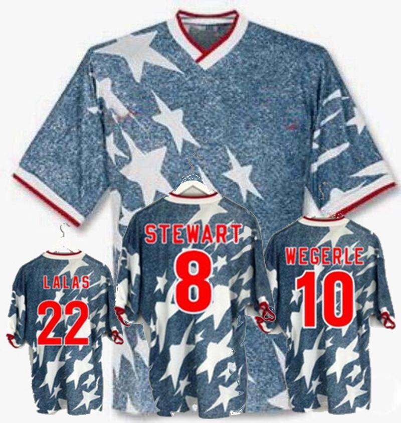 Retro 1994 USA World Cup soccer jerseys LALAS STEWART WEGERLE America United States 94 Retro football shirt 2XL