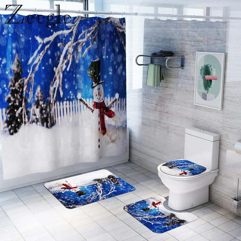 Salle de bain Rideau de douche imperméable rideau Tapis de bain Ensemble toilettes Absorbant Tapis Piédestal douche moquette douce toilettes Seat Cover Mat