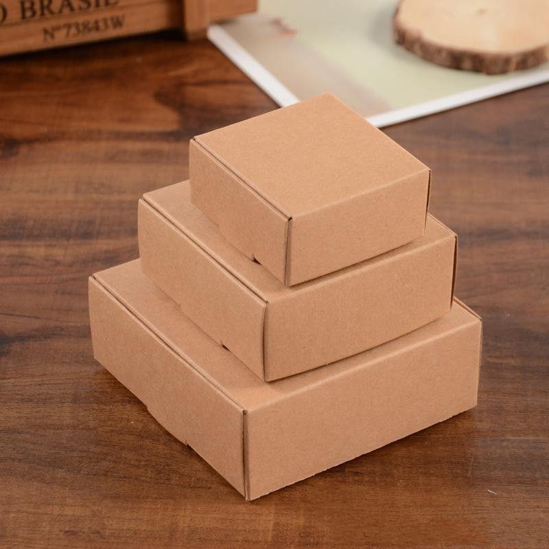3 Dimensioni Tabella Kraft Cartone Cartone Pacchetto Box Regalo Packaging Sapone Jewlery Box Box Candy Box Scatole