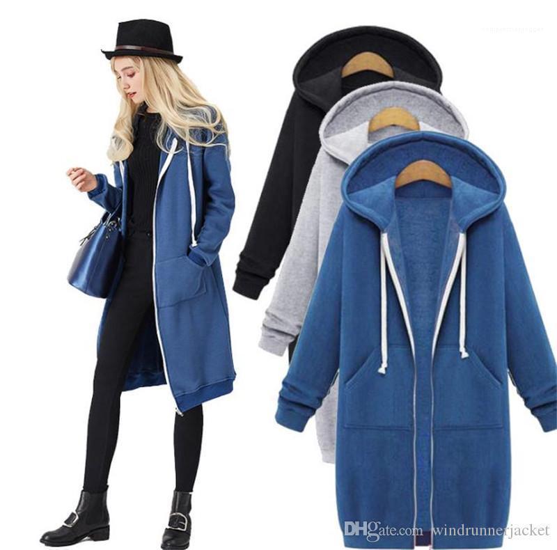 Hoodies Winter-Art und Weise beiläufige Solid Color Mid Long Cardigan Pullover koreanische Art Frauen-Mantel plus Größe Frauen