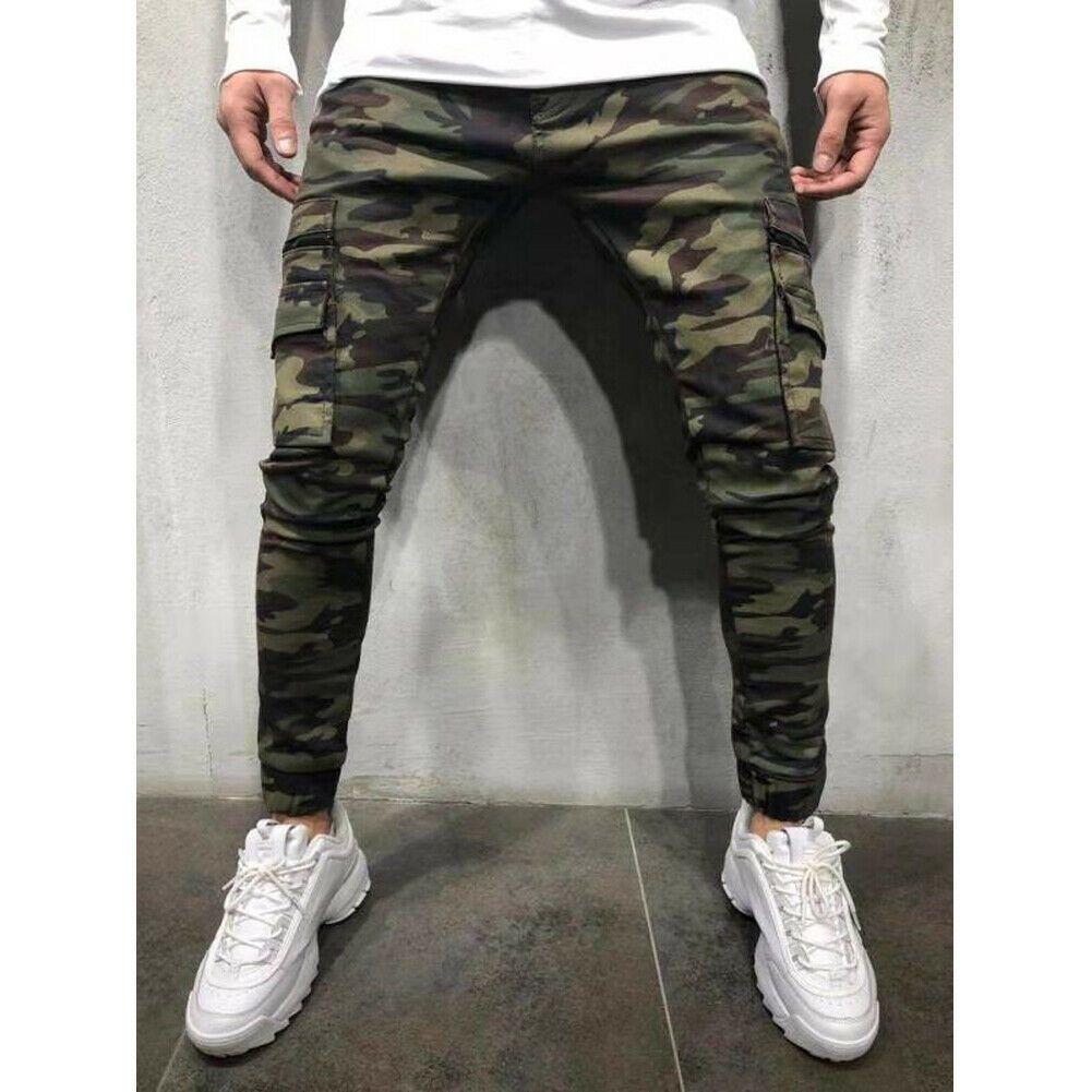 Moda Erkekler Pantolon Rahat Kamuflaj Pantolon Iş Kargo Ordu Camo Savaş Artı Boyutu Pantolon Hip Hop Tarzı Streetwear