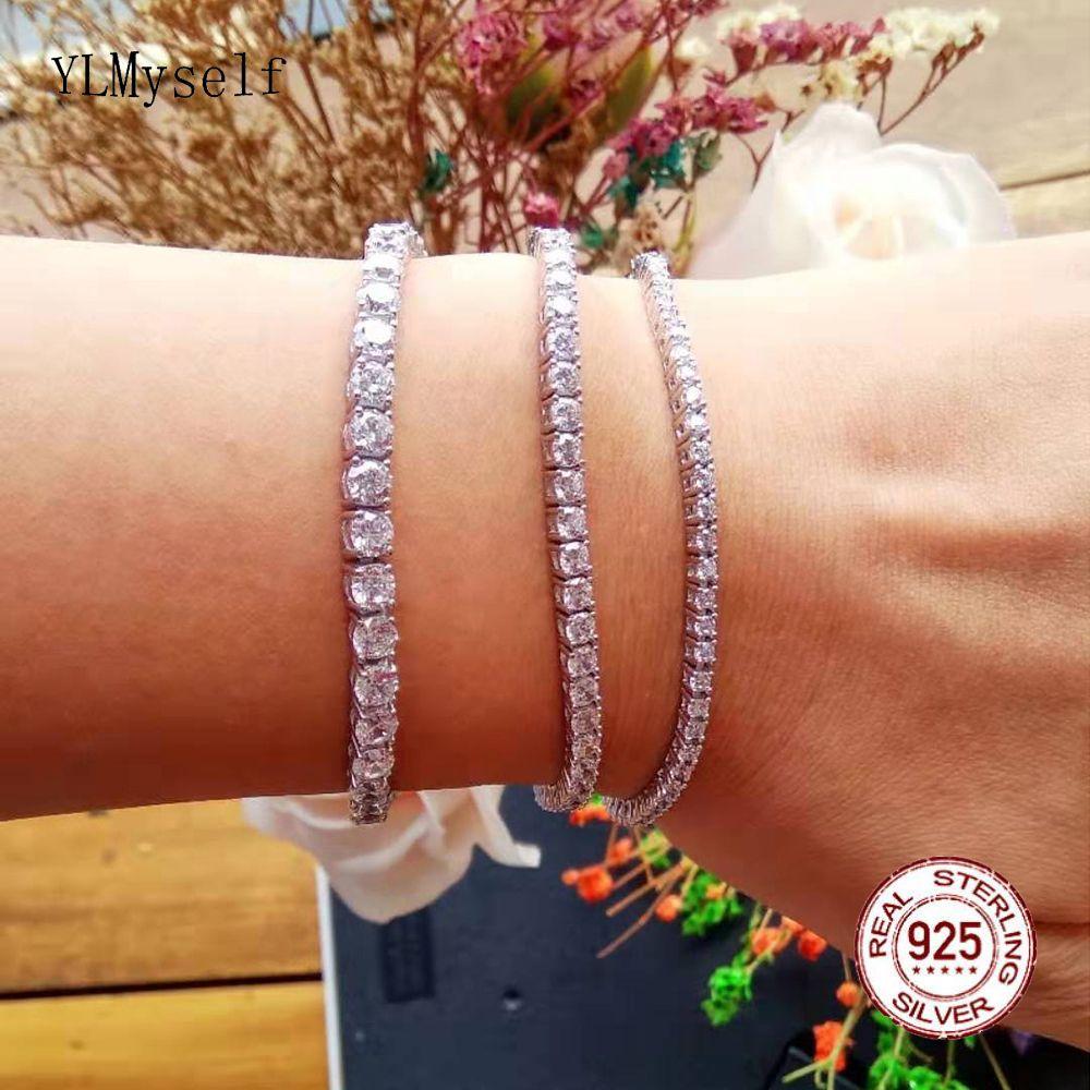 Classic 17.5 cm tennis bracelets Real 925 silver jewelry 2mm 3mm 4mm Shiny Zironia Eternal wedding luxury sterling silver Bracelet