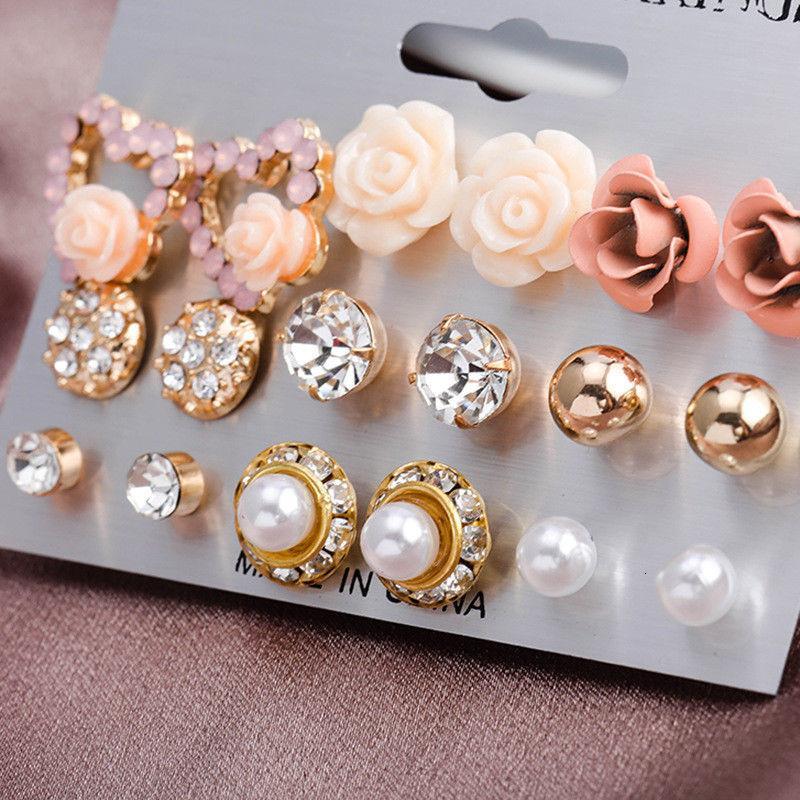 12/9 pares / Pérola flor de cristal Studs Brincos Meninas elegantes jóias Rose coração da flor de Set dom mulheres