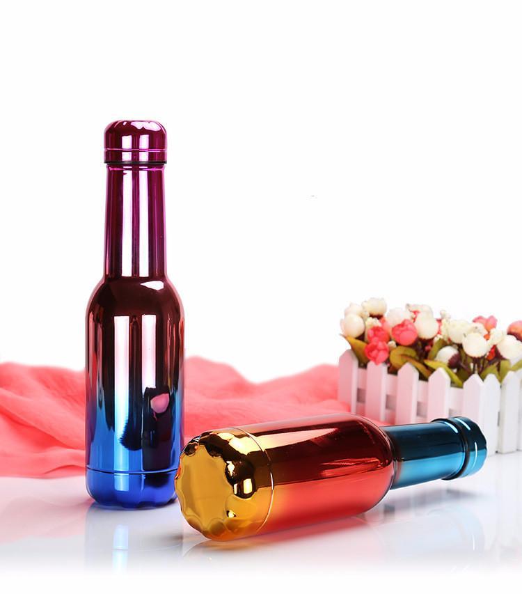 couleur UV vin en acier inoxydable Bouteille à isolation sous vide double bouteille d'eau Walled 500ml avec bouchon d'équipage