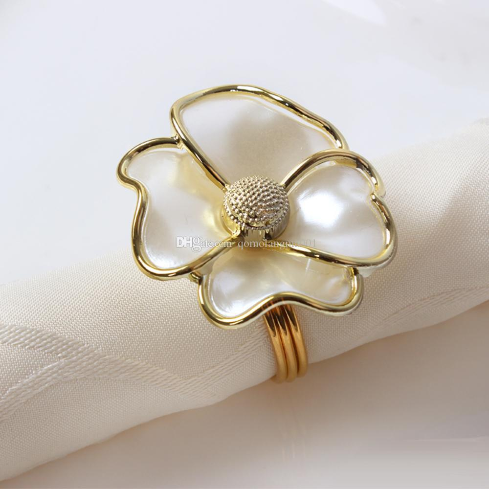 Çiçekler Peçete Halkaları Beyaz Inci Şekli Otel Için Peçete Halkaları güzel peçete toka düğün Masa Dekorasyon