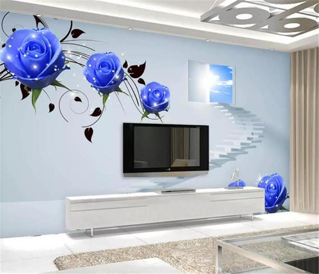 Custom Any Size 3D Wallpaper Blue Delicate Rose Space Staircase Living Room Bedroom Background Wall Wallpaper