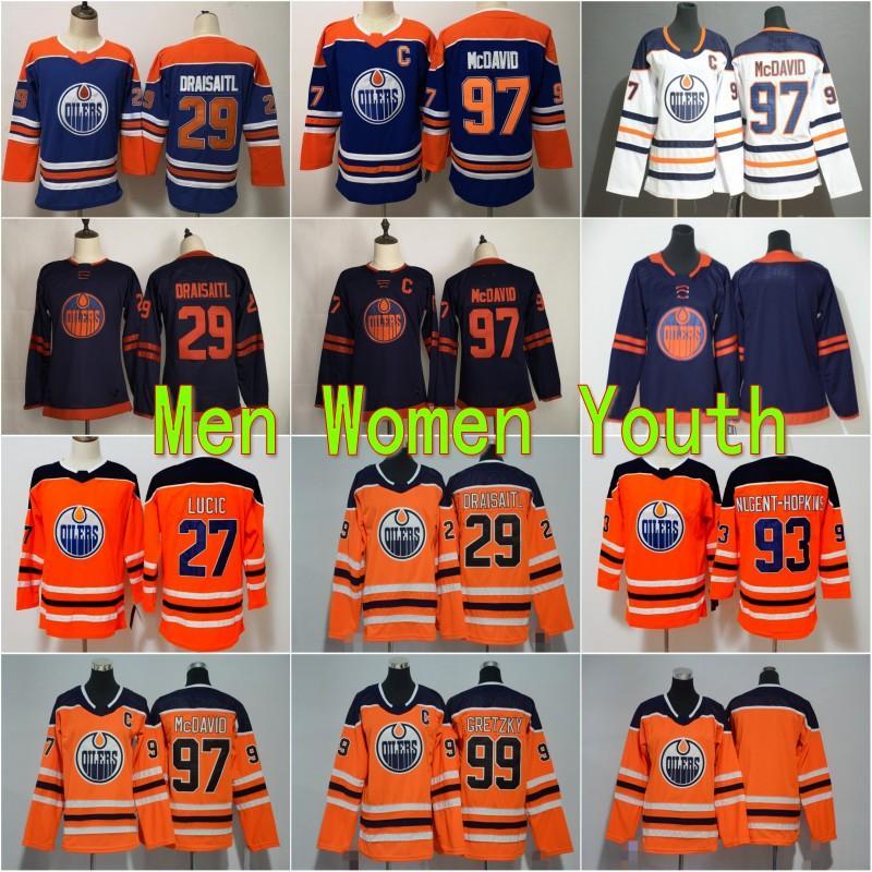 Kids Jeunesse Homme Femmes 2020 Neuf Edmonton Oilers Jerseys 29 Leon Drisaitl 93 Nugent-Hopkins 99 Wayne Gretzky 97 Jersey de hockey cousu McDavid