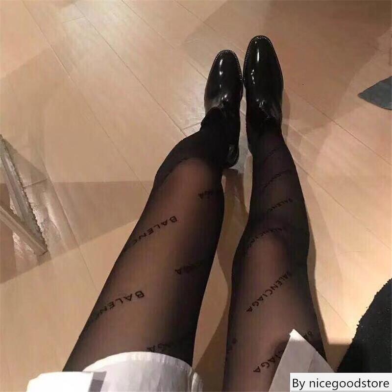 Nouveau mode Plein Ba Transparent Bas Europe Lettre Amérique Pure Color flocage Pantynose Femmes Noir Collants
