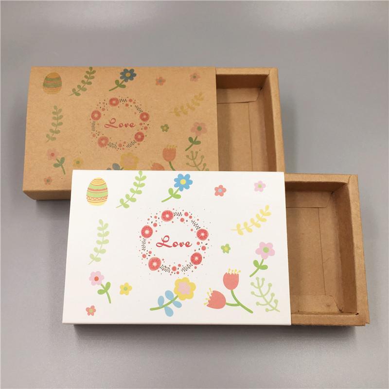20PCS / LOT أربعة أنماط اليدوية الملونة ورقة الطباعة درج صندوق العائلة السعيدة حزب الحيوان القلب كرافت ورقة سحب دفع صندوق
