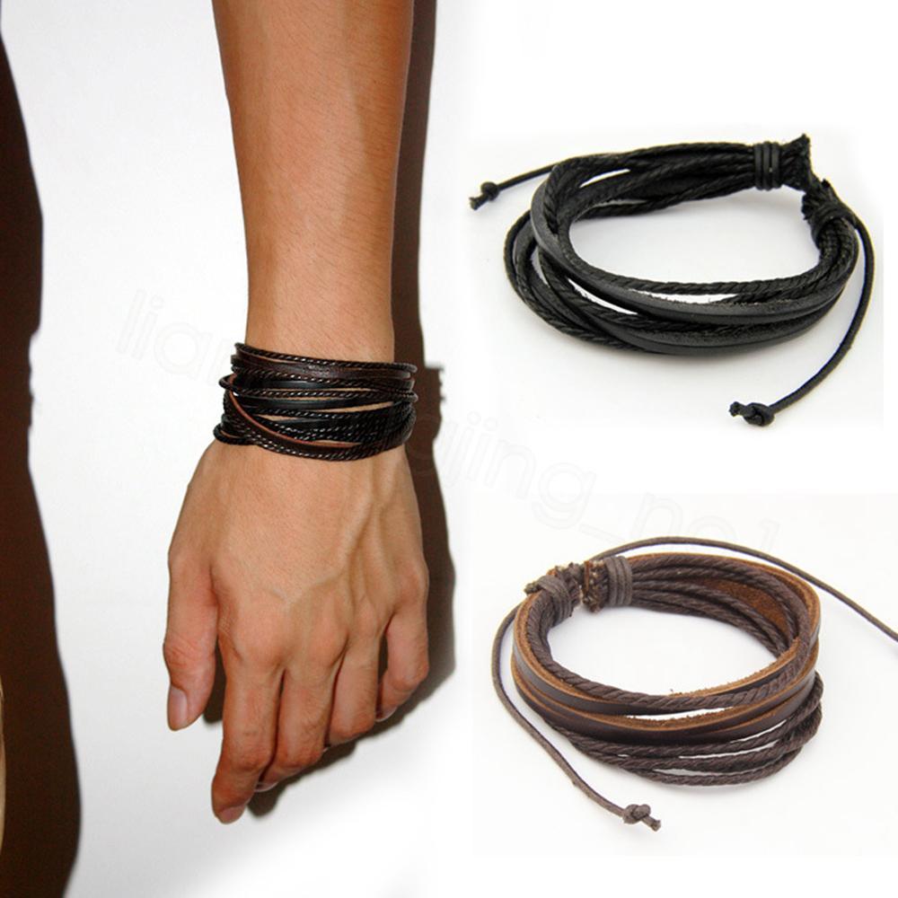 Retro braccialetti punk Handmade Jewelry multistrato in pelle intrecciata in corda della cera Wristband degli uomini bracciali bangles per Male FFA3648