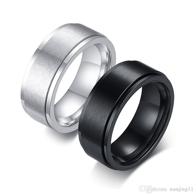 Basic Spinner Ring Silver Stainless Steel Rotatable 8mm Male Anel Stylish Punk Alliance Jewelry R-394B
