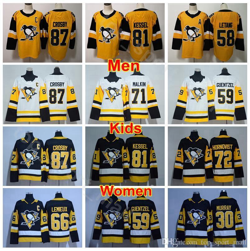 Hommes Femmes Jeunes Penguins de Pittsburgh Jerseyss Hockey sur glace 30 Matt Murray 66 Mario Lemieux 59 Jake Guentzel 58 Kris Letang Homme Enfant