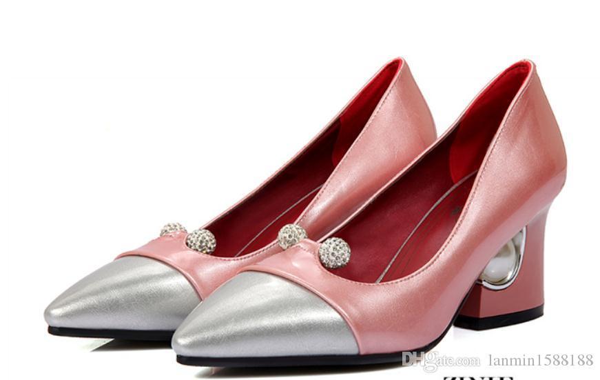 2019 Perceuse à eau Chaussures pour femmes au printemps et à l'automne avec nouveau style Talon haut Talon gros bout pointu @ 20