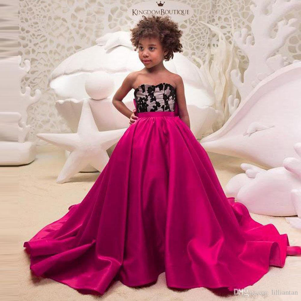 Fuchsia A Line Sweetheart Flower Girls Dresses Wedding Party Gowns Bow Long Train Toddler Pageant Dresses Satin Kids Prom Gowns 34 Cheap Pageant Dresses For Toddlers Childrens Formal Wear From Lilliantan 95 48,Mermaid Sweetheart Lace Allure Wedding Dresses