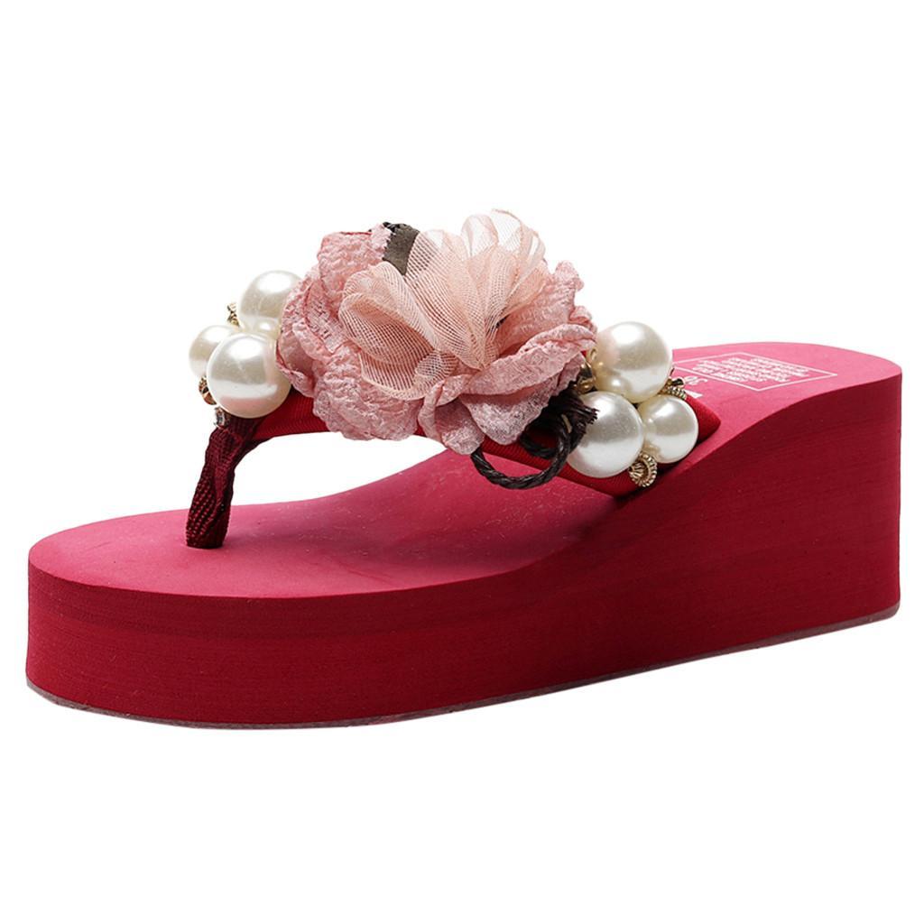 SAGACE Mulheres Verão cor sólida Wild-High Heel flip flops Beading Praia Cunhas Grosso Bohemian estilo Chinelos Bottoms flor Shoe