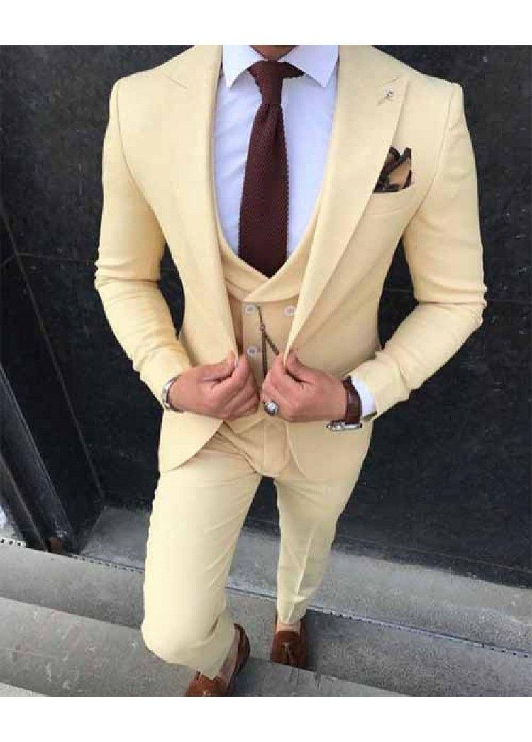 Hommes formel Costume 3 Pièces dernières Manteau Pantalon Designs Notch Lapel Smokings Pour Groomsmen mariage / partie (Blazer + veste + pantalon)