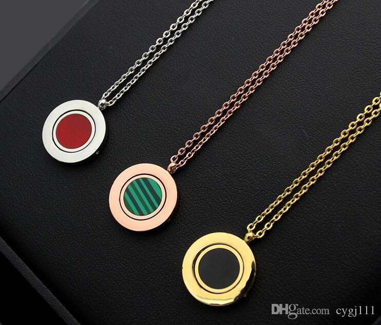 European and American models B letter can be turned to turn double-sided garden necklace fashion wild tide female titanium steel necklace