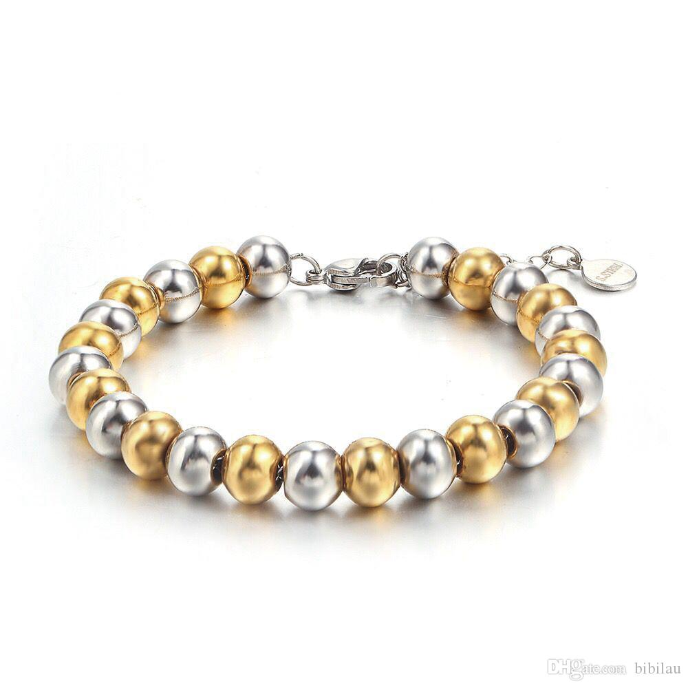 (TB-0019) (21cm*8mm) 316L titanium steel Mix 2 Gold Color Beads Bracelets Jewelry For Men No Fade